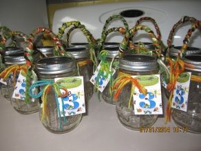 bug party iron on used as a mason jar favor tag