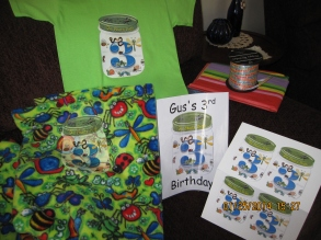 bug party iron on used as on a t-shirt, blanket, party sign and favor tags