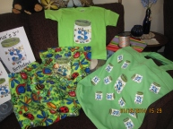 bug party iron on used on a t-shirt, blanket and gift bag